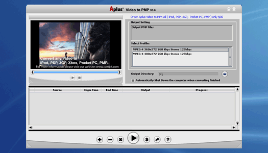 Aplus Video to Portable Media Player Screenshot 1
