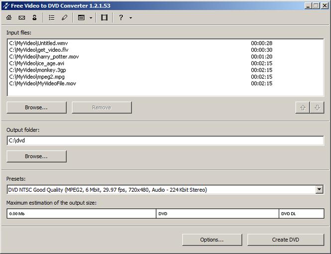 Free Video to DVD Converter Screenshot