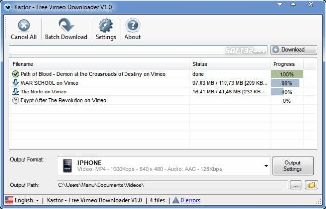 Kastor Free Vimeo Downloader Screenshot 2