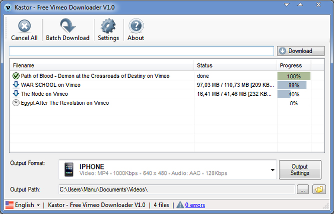 Kastor Free Vimeo Downloader Screenshot