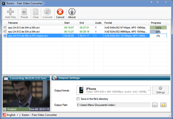 Kastor Free Video Converter Screenshot 1