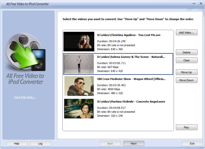 All Free Video to iPod Converter Screenshot
