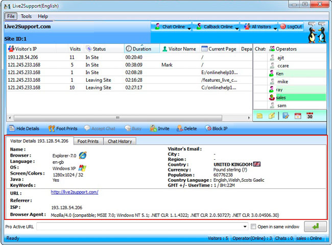 Live2support Live Chat Software Screenshot