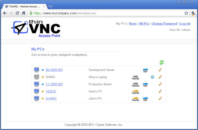 ThinVNC Access Point Screenshot