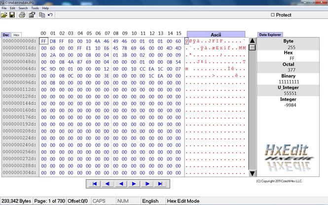 SB Hexidecimal Editor Screenshot
