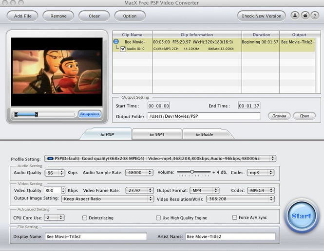 MacX Free PSP Video Converter Screenshot