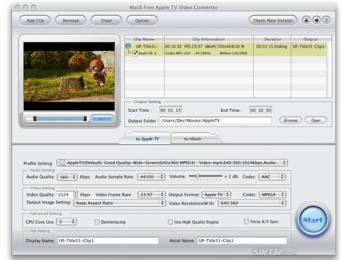 MacX Free Apple TV Video Converter Screenshot 2