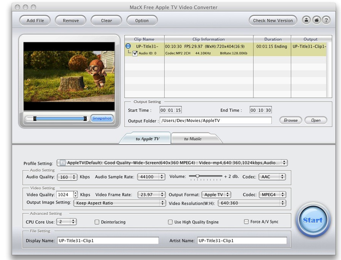 MacX Free Apple TV Video Converter Screenshot 1