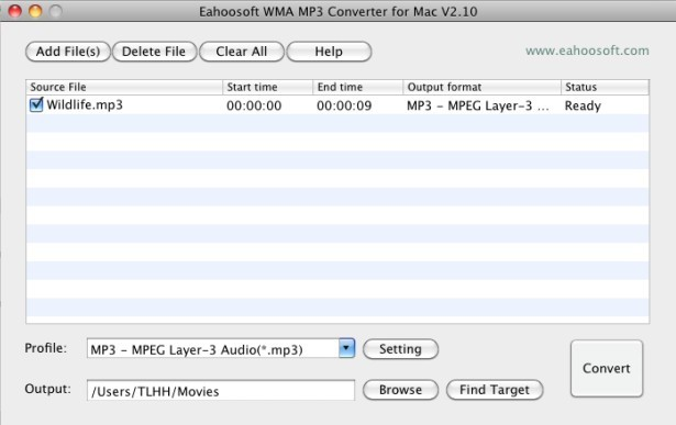Eahoosoft WMA MP3 Converter for Mac Screenshot 1
