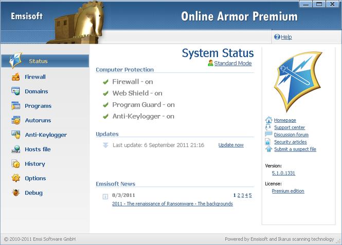 Online Armor Premium Firewall Screenshot