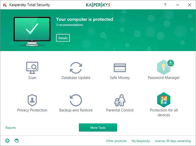 Kaspersky Total Security Screenshot 1
