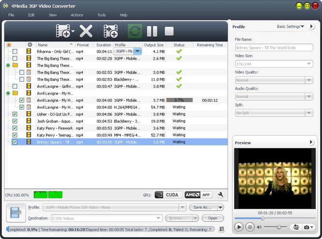 4Media 3GP Video Converter Screenshot 1