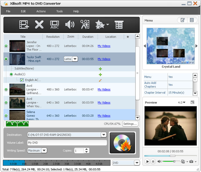 Xilisoft MP4 to DVD Converter Screenshot 1