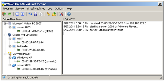 Wake-On-LAN Virtual Machine Screenshot
