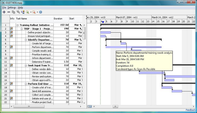Free Microsoft Project Viewer Screenshot