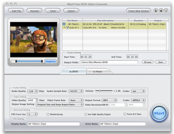 MacX Free iDVD Video Converter Screenshot 1