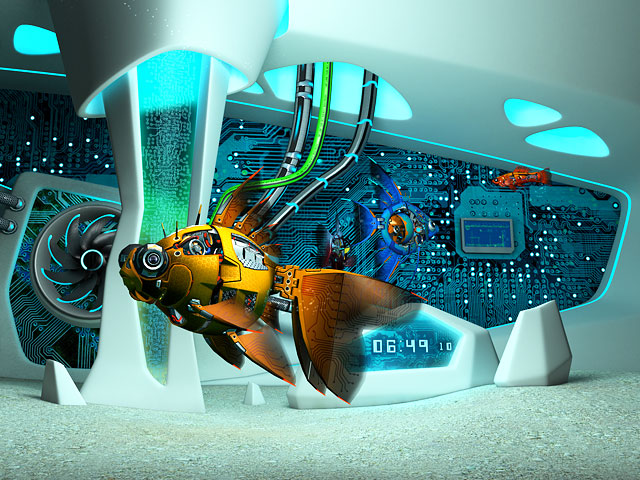 Cyberfish 3D Screensaver Screenshot 1
