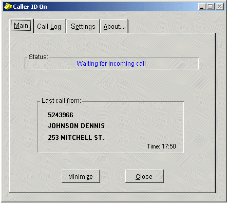 Phone Caller ID for PC Screenshot 1