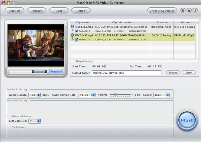 MacX Free MP3 Video Converter Screenshot