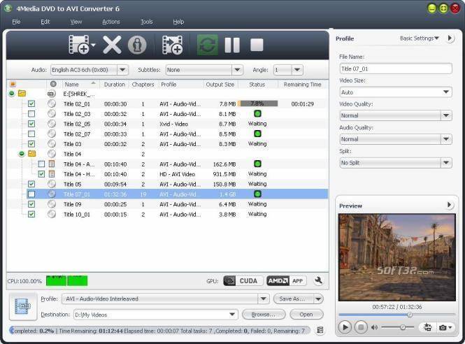 4Media DVD to AVI Converter Screenshot 2