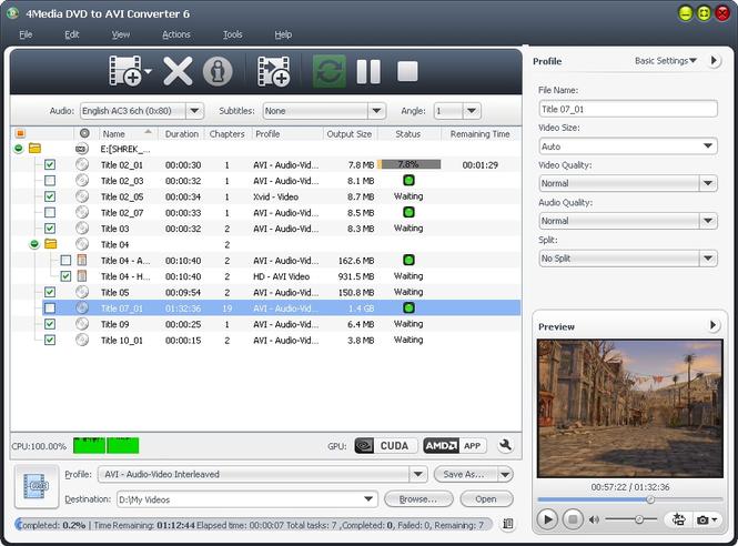 4Media DVD to AVI Converter Screenshot 1