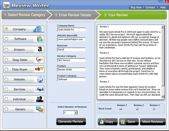 Review Writer Screenshot