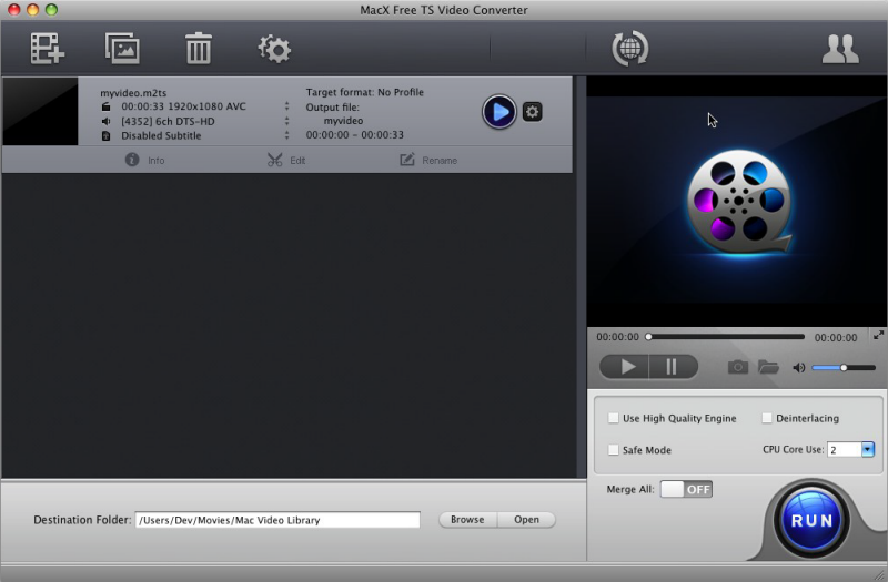 MacX Free TS Video Converter Screenshot 3