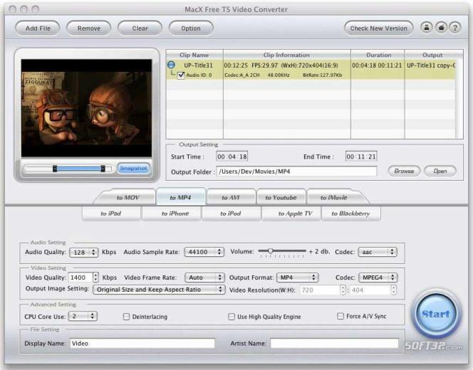 MacX Free TS Video Converter Screenshot 2