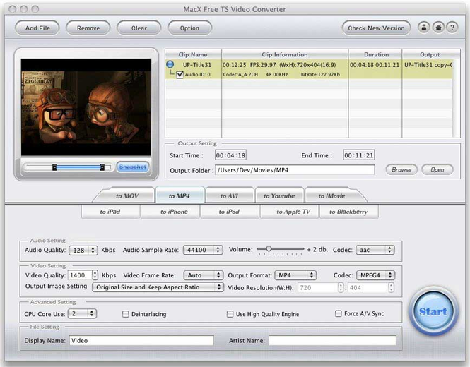 MacX Free TS Video Converter Screenshot