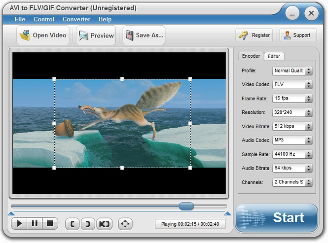 Eviosoft AVI to FLV/GIF Converter Screenshot