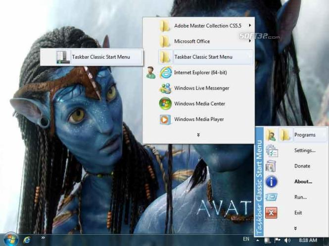 Taskbar Classic Start Menu Screenshot 2
