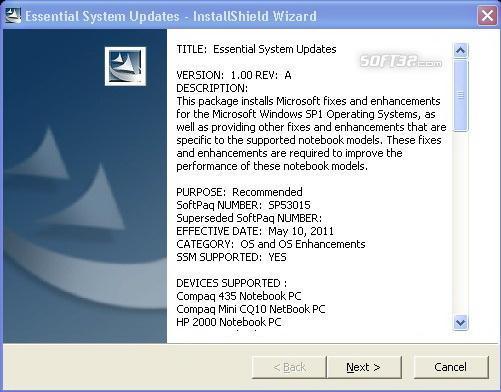 HP Noteboooks Essential System Updates Screenshot 2