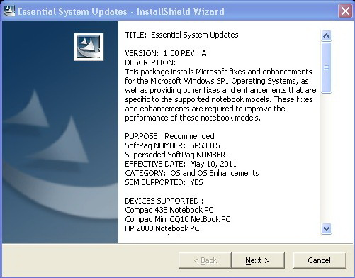 HP Noteboooks Essential System Updates Screenshot