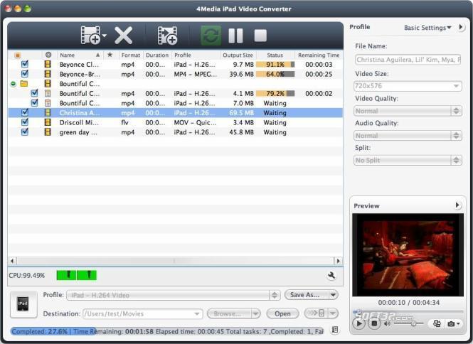 4Media iPad Video Converter for Mac Screenshot 2