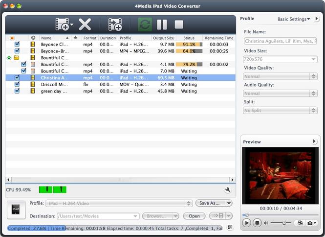 4Media iPad Video Converter for Mac Screenshot 1