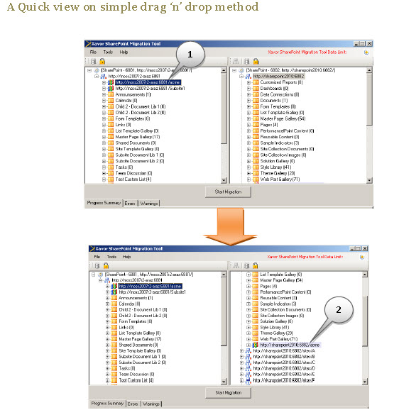 Xavor SharePoint 2010 Migrator Screenshot