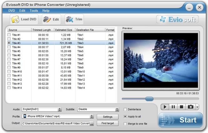 Eviosoft DVD to iPhone Converter Screenshot