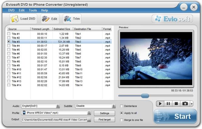 Eviosoft DVD to iPhone Converter Screenshot 1