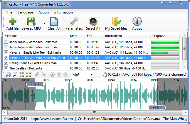 Kastor Free M4A Converter Screenshot