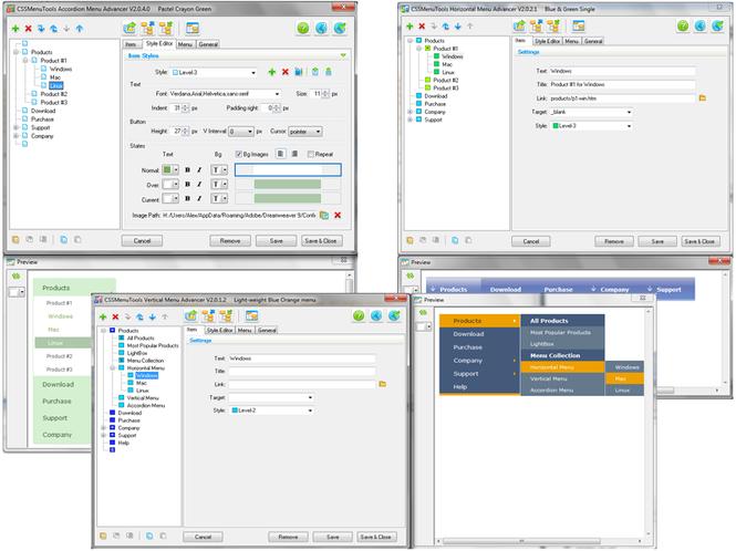 CSS Menu Dreamweaver extensions Screenshot
