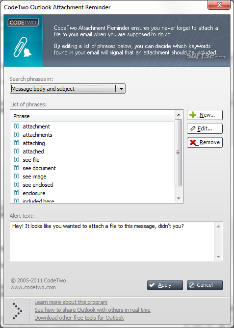 CodeTwo Outlook Attachment Reminder Screenshot 2