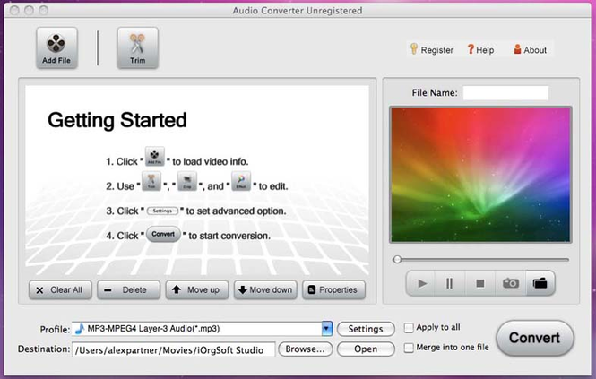 Alifesoft Audio Converter for Mac Screenshot