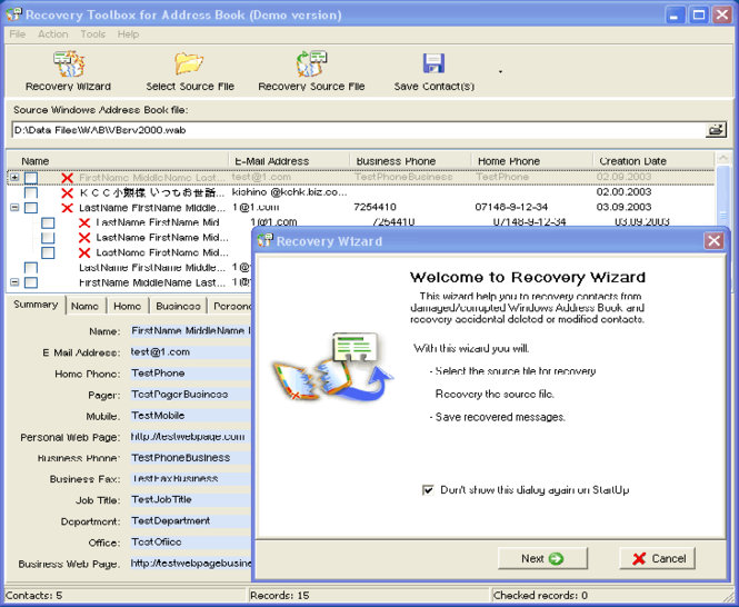 Address Book Recovery Free Screenshot
