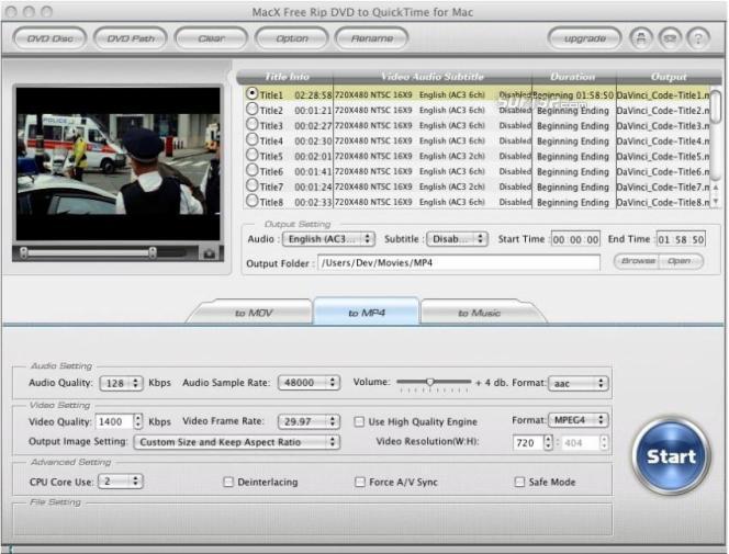 MacX Free Rip DVD to QuickTime for Mac Screenshot 2