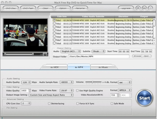 MacX Free Rip DVD to QuickTime for Mac Screenshot