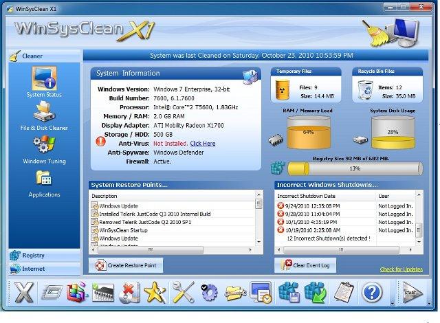 WinSysClean X2 Screenshot 1