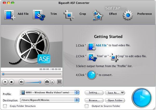 Bigasoft ASF Converter for Mac Screenshot 2