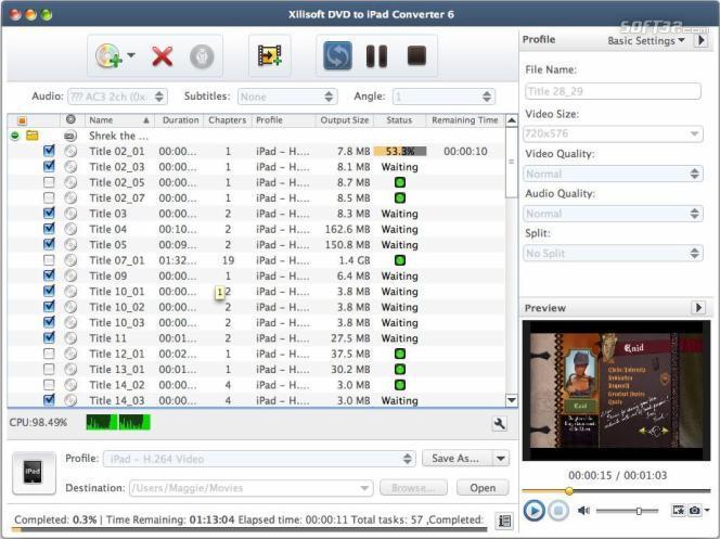 Xilisoft DVD to iPad Converter for Mac Screenshot 2