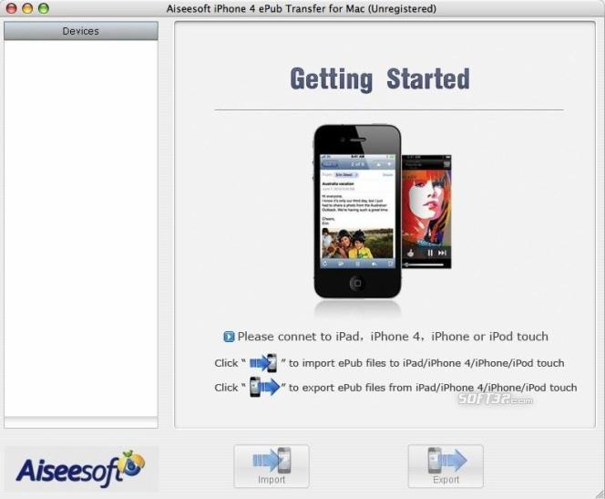 Aiseesoft iPhone 4 ePub Transfer for Mac Screenshot 2