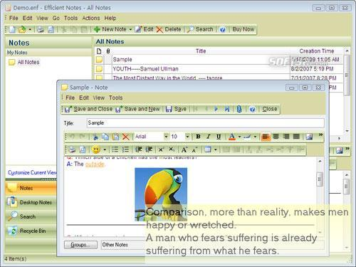 Portable Efficient Notes Free Screenshot 2